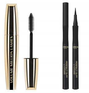 LOREAL WORTH IT TUSZ VOLUME MILLION LASHES BLACK+ SUPER LINER PERFECT SLIM INTENSE BLACK ZESTAW